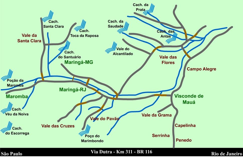 Mapa de acesso a Região de Visconde de Mauá
